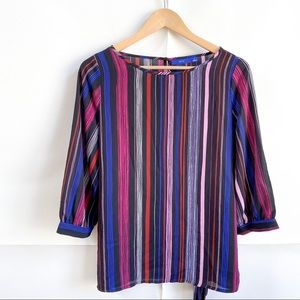 NEW Apt. 9 Multicolor Striped 3/4 Sleeve Top